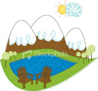 Mountain Landscape with Adirondack Chairs Royalty Free Stock Vector