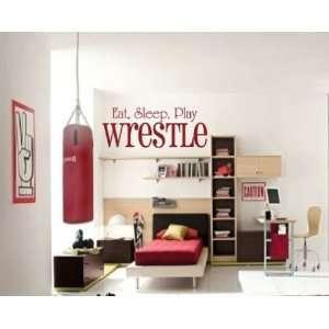 Eat Sleep Play Wrestle Sports Hobbies Outdoor Vinyl Wall Decal Sticker
