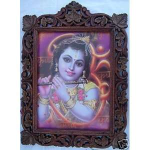 Lord Krishna enjoying his flute, Wood Craft Frame