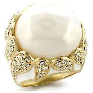 Size 9 White Milky CZ Brass Gold Plated Ring AM Jewelry