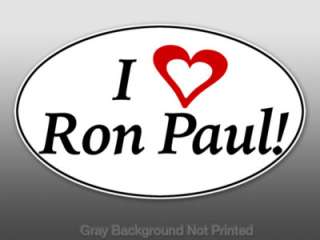 Oval I Heart Ron Paul Sticker   decal bumper 2012 vote