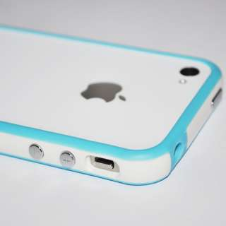 Blue White Bumper Case Cover with Metal Buttons For Apple iPhone 4 S