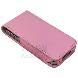 Baby Pink Leather Flip Case Cover for iPhone 4S & 4