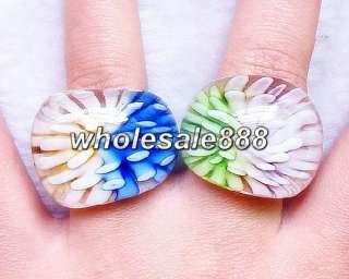 Dichromatic lampwork glass rings 12pcs mix colors Free~