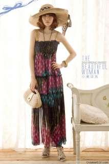 New Womens BOHO Chiffon Overall Full Long Dresses 0987