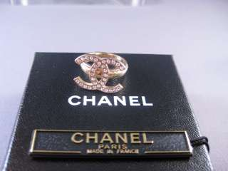Auth CHANEL 09A Sparkling Crystal Huge CC Gold Ring NEW