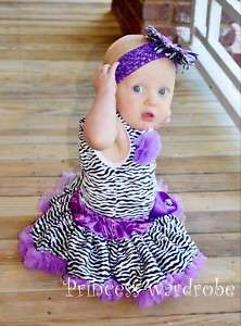 Baby Dark Purple Zebra Pettiskirt Zebra Print Top 3 12M