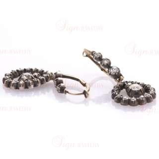 Georgian Antique Russian Diamond 14k Yellow Gold Earrings