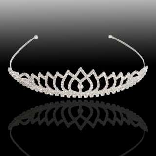 New Elegant Bridal Wedding Tiara Honey Pearl Rhinestones Crown Hair