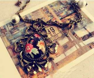 NEW Charm Retro Crystal Flower Drop Pendant Pearl Key Long Chain