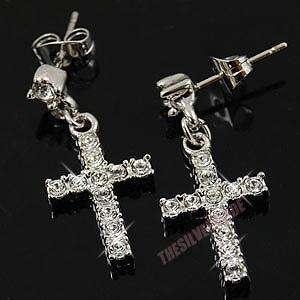 18K White Gold Plated Cross Charm Earring 11509