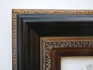 Picture/Frame/Wide/Black/Gold/Leaf/Wood 24x36/24 x 36