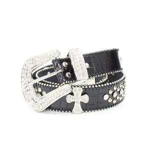 Black Cross Fashion Rhinestone Studded Belt (Large