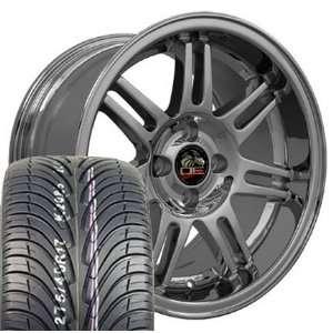 10th Anniversary 4 Lug Deep Dish Style Wheels Tires   Chrome 17x9