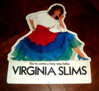 Vintage 1983 VIRGINIA SLIMS Youve Come A Long Way Baby METAL SIGN