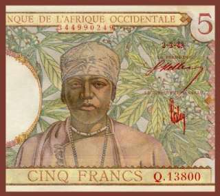 FRANCS Note FRENCH WEST AFRICA 1943   Tribal Man   EF