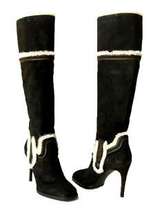NEW $1600 DSQUARED2 BROWN SUEDE BOOTS WITH FUR 38 8