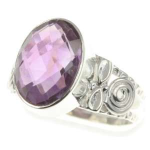 925 Sterling Silver NATURAL AMETHYST Ring, Size 8, 4.74g Jewelry