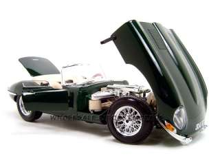 1961 JAGUAR E TYPE CONVERTIBLE GREEN 118 DIECAST CAR MODEL BY BBURAGO