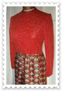 Vintage 70s Metallic Brocade Knit Maxi Party Dress B36