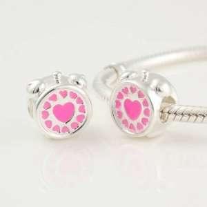 925 Sterling Silver Pink Love Hearts Alarm Clock Pink Enamel Bead
