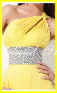 2012 One Shoulder Beaded Chiffon Yellow Long/Short Cocktail/Party/Prom