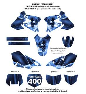 SUZUKI DRZ 400 S/E/ SM  2000 12 Bike Decal Kit 6666 BLUE SKULL