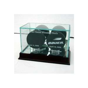 Hockey Puck Display Case with Cherry Wood Molding Sports & Outdoors