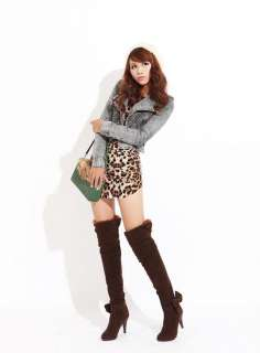 Grey Fur Trim Cuffed Bowtie Over the Knee Boots #24a