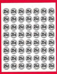 56 Old 25 Cent Gumball Vending Machine Price Stickers