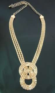 Necklace Gold plated Knot Pendant 25inch Long Party Fashion NEW