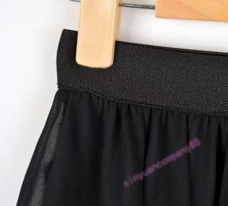 New Style Women Chiffon Pleated Elastic Waistband Short Mini Skirt
