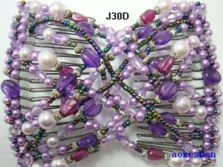 Stretchy Glass Pearl Beaded Double Magic EZ Hair Combs Clips For Girls