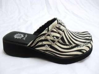 YELLOW BOX HOLLY Womens Zebra Clog w/ Rhinestone Strap