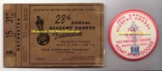 1956   28th ANNUAL ACADEMY AWARDS Original Event TICKET & PINBack