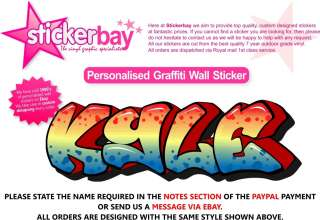 WALL STICKER ART PERSONALISED NAME GRAFFITI BOY BEDROOM GIRLS NURSERY