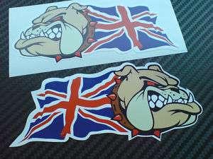 BRITISH BULLDOG & Union Jack Flag Stickers 2 Handed