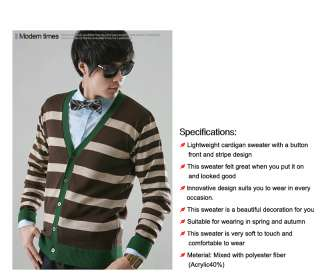 NWT Mens V Neck Striped Cardigan Knit Sweater Style Stripe Brown Size