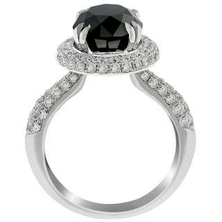 47 Carat Black Diamond Engagement Ring Vintage Style 14K White Gold