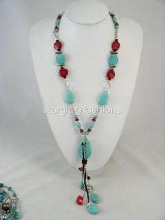 Beautiful Nature Torquoise Red Coral Pandent Long Necklace