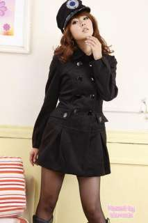 Black Boho Ladies NEW Womens Military Trench Coat Jacket