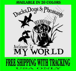 DUCK HUNTING DECAL PHEASANTS LAB Dogs Bird Hunt 3297DP2
