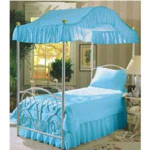 Aqua Sky Blue Twin Size Canopy Bed Top Fabric Home & Kitchen