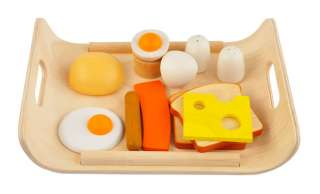 Plan Toys BREAKFAST MENU 3415 Wooden Meat Eggs Bread Play Pretend Food