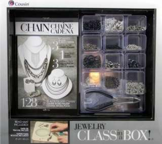 Jewelry Kit Complete 128 PC Black/Silver Makes Necklaces, Earrings
