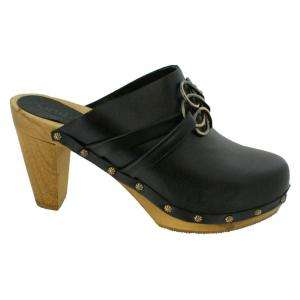Sanita Maria Wood Plateau Clogs in Black Leather   Factory 2nd