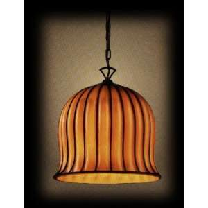 Elk Lighting 1604/1 Phoenix Ribbed Amber Glass 1 Light Wrought Iron