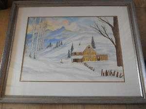 huge vtg winter/snow scene,Janette Browder,Texas artist