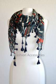 IN 1 Animal Print Square Scarf with Tassels 4 colors