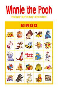 Winnie the Pooh Birthday Party Game Bingo Cards